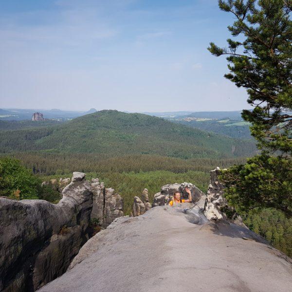 Aussicht von der oberen Häntzschelstiege in Richtung Falkenstein