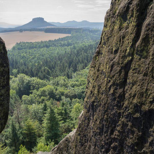 Ausblick auf die Felswände des Großen Bäresntein und den Lilienstein in der Ferne