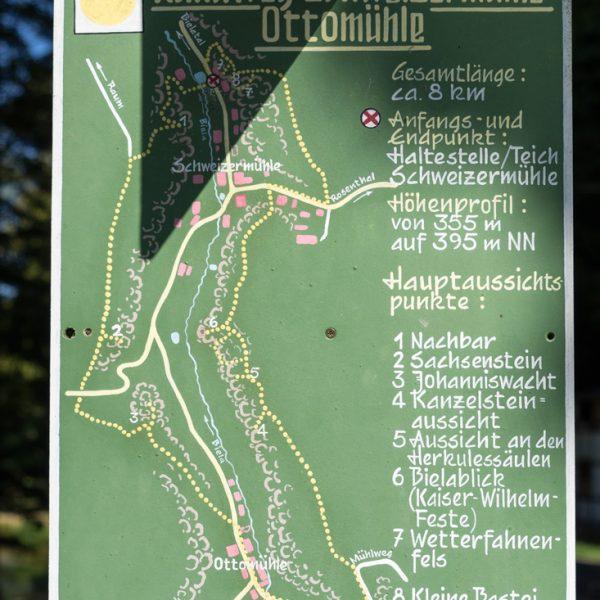 Rundwanderweg gelber Punkt im Bielatal