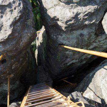 Aufstieg am Sachsenstein über Leitern, Bielatal