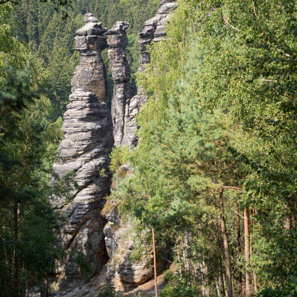 Abstieg zu den Kletterfelsen, Felsnadeln im Bielatal