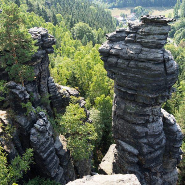 Blick von der Kanzelstein-Aussicht in Richtung Ottomühle, Bielatal