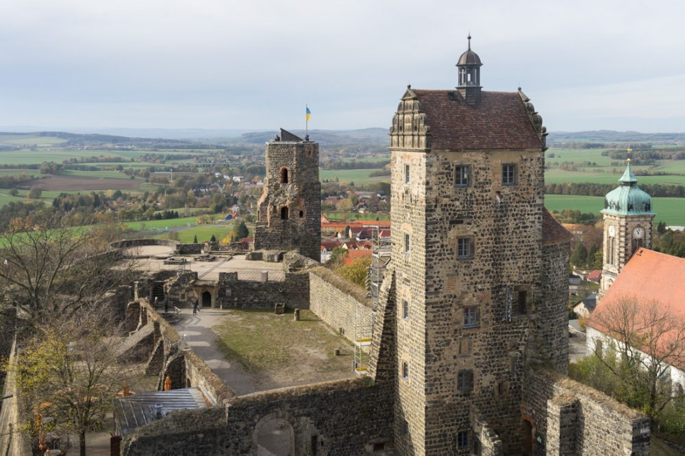 Blick aus dem Coselturm auf Burg Stolpen