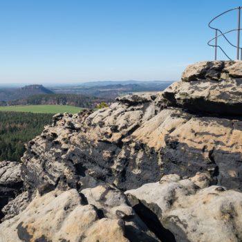 Westaussicht auf dem Gohrisch mit Blick auf die Festung Königstein