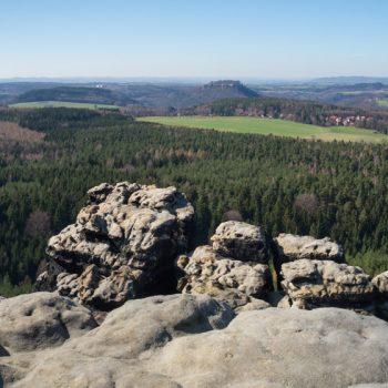 Panoramablick vom Gohrisch auf Pfaffenstein, Königstein und Lilienstein
