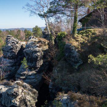 kleine Berghütte auf dem Papststein