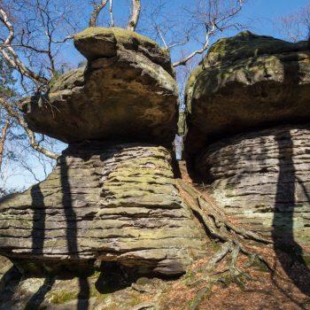 markante Felsen in der Nähe des Nadelöhrs, Pfaffenstein