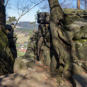 Blick auf den Abstieg Nadelöhr, Pfaffenstein