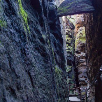 Aufstieg Klammweg, steile Felswände und Fallbeil