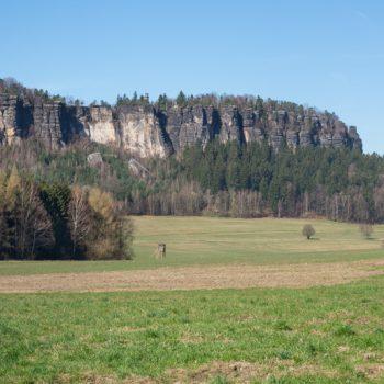 Panoramablick auf den Pfaffenstein und die Festung Königstein im Hintergrund