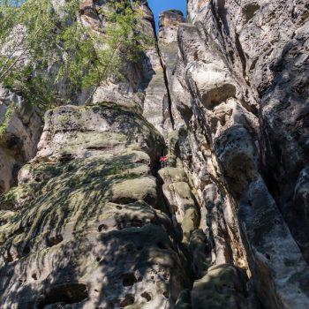Klettern am Schusterweg, Falkenstein in der Sächsischen Schweiz