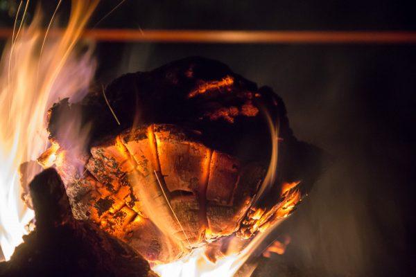 Am Feuer, glühendes Holz