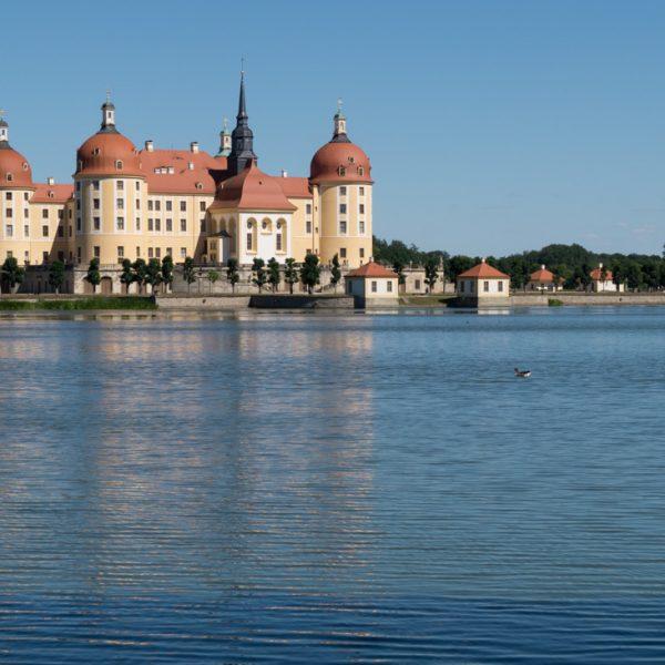 Am Schlossteich mit Blick auf das Schloss Moritzburg, Moritzburger Teiche