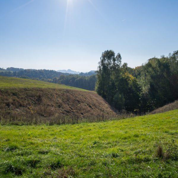 weite Wiesen und Felder bei Goßdorf, ganz im Hintergrund die Schrammsteine