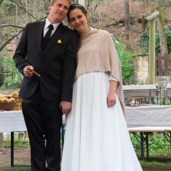 romantische Hochzeitsfeier, das Brautpaar