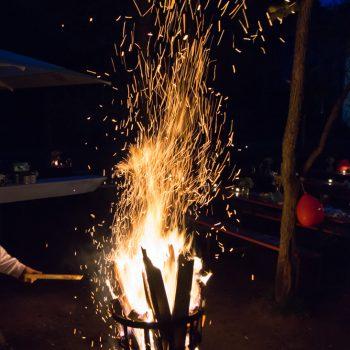 Funkenflug am Lagerfeuer, Hochzeitsfeier