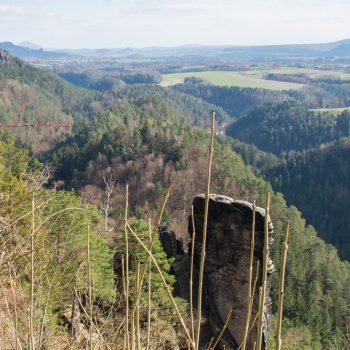 Aussicht von Brand auf den Kletterfelsen Brandscheibe und auf die Schrammsteine im Hintergrund