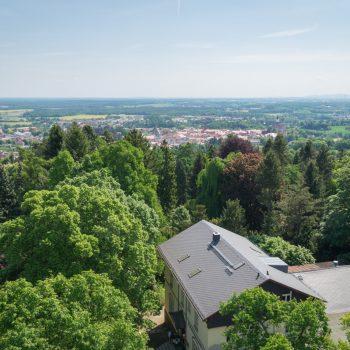 Ausblick vom Lessingturm auf Kamenz und auf den Garten