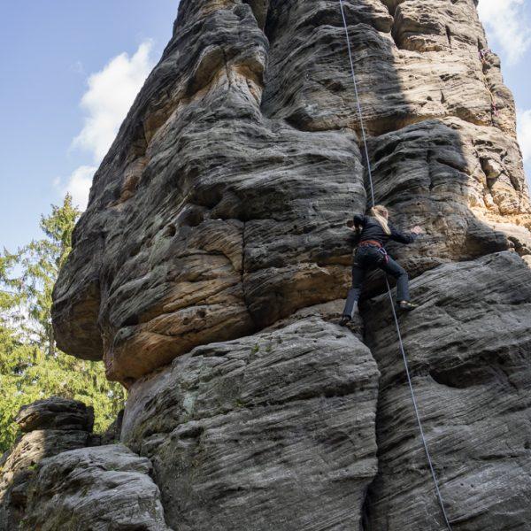 Aufstieg am Johannisturm - AW Variante, Klettern im Bielatal