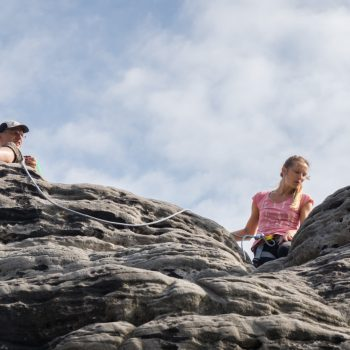 Gamrig, Klettern am Heidebrüderturm, Alter Weg, auf dem Gipfel