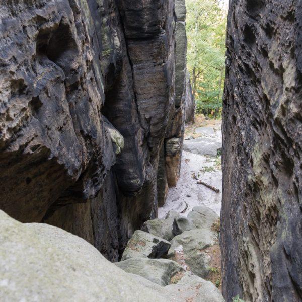 Blick hinab in die Taubenschlucht, Pfaffenstein