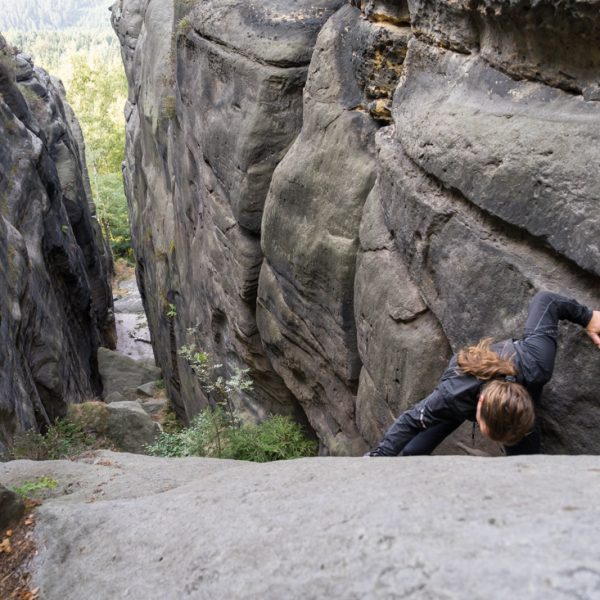 Aufstieg durch die Taubenschlucht, Pfaffenstein