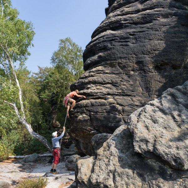 alternativer Einstieg am Überhang, Klettern am Fritschfels, Pfaffenstein