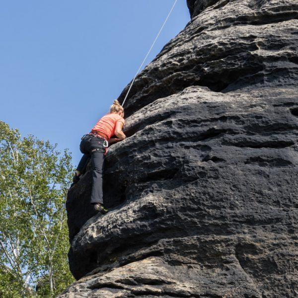 Klettern an der Westkante des Fritschfels, Pfaffenstein
