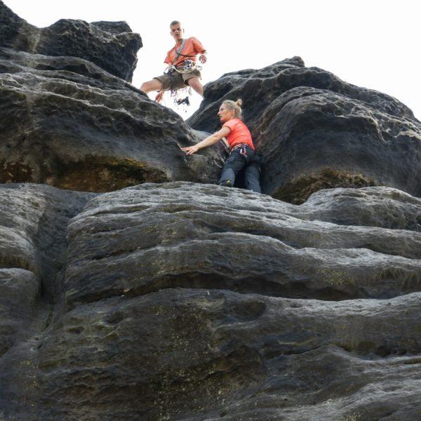 Rinne kurz vor Erreichen des Gipfels, Aufstieg am Fritschfels