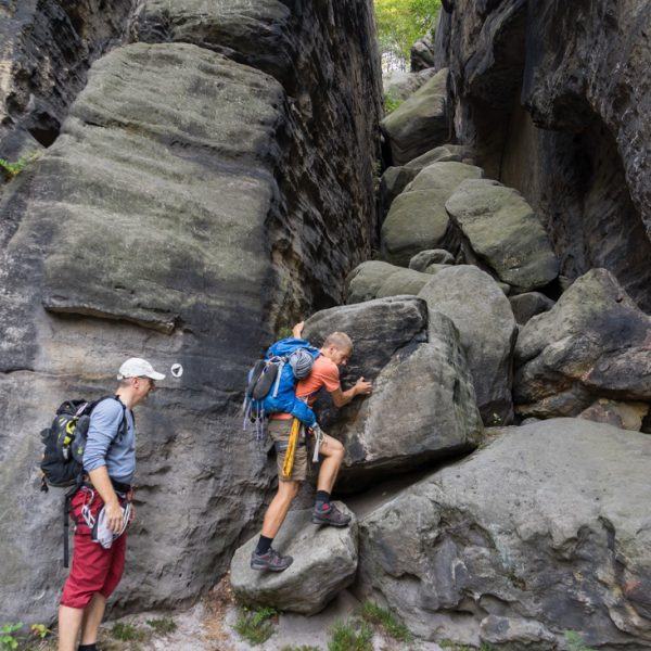 Aufstieg durch die Taubenschlucht, Pfaffenstein Südseite