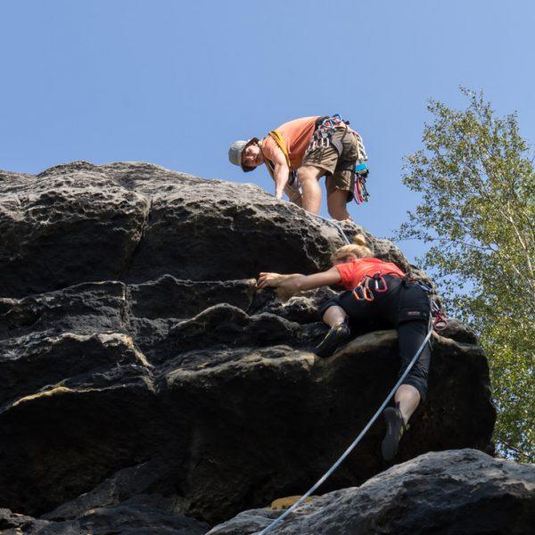 Schlüsselstelle am Pfaffenkopf AW (hoher Antritt), Klettern am Pfaffenstein