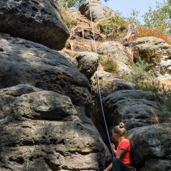 Aufstieg durch den Kamin, Kletterweg Leichter Weg an der Ratte