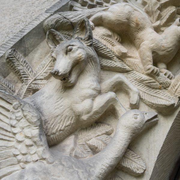 andstein-Relief mit Jagdmotiven (Detail), Grillenburg