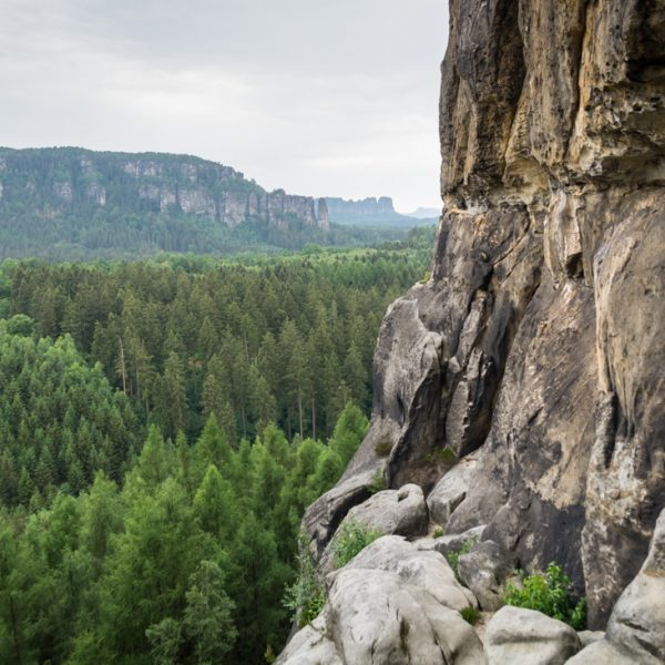 Am Schneiderloch, Blick auf die Affensteine, Wanderung Kuhstall