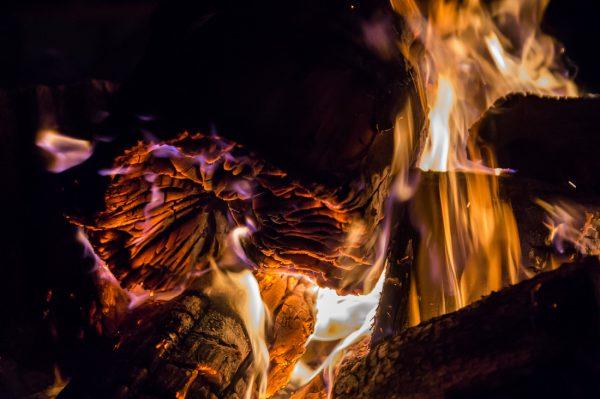 golden glühendes Holz am Lagerfeuer, Momentaufnahme