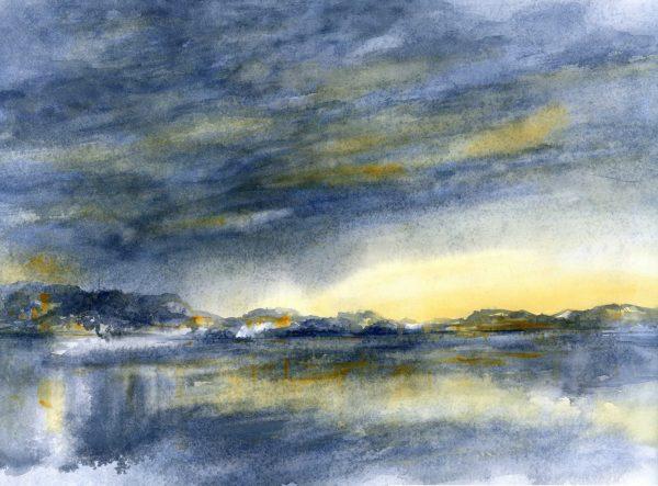 Wolken und Lichter im Wasser | Aquarellfarbe auf Papier | 650 x 450 mm | 2011