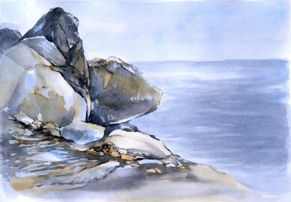 Felsen und Meer | Aquarellfarbe auf Papier | 295 x 208 mm | 2014