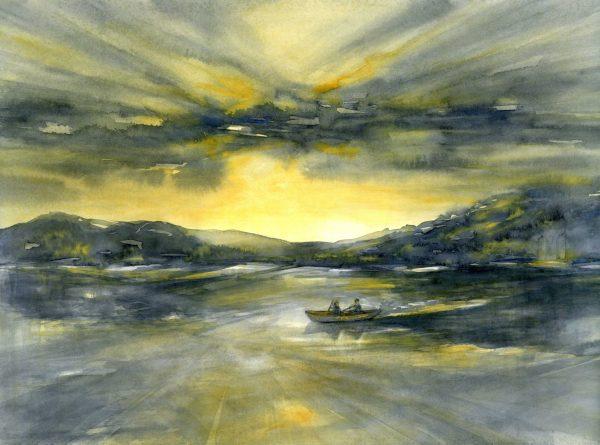 Abendstimmung am See | Aquarellfarbe auf Papier | 650 x 450 mm | 2011