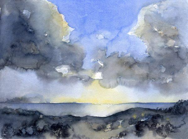 Wolken am Meer | Aquarellfarbe auf Papier | 400 x 300 mm | 2015