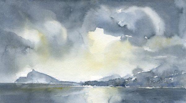 Wolken am Meer | Aquarellfarbe auf Papier | 400 x 220 mm | 2015