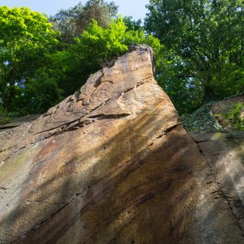 Kletterwand Liebethaler Grund, farbiger Sandstein