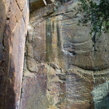 farbiger Sandstein im Klettergarten, Liebethaler Grund