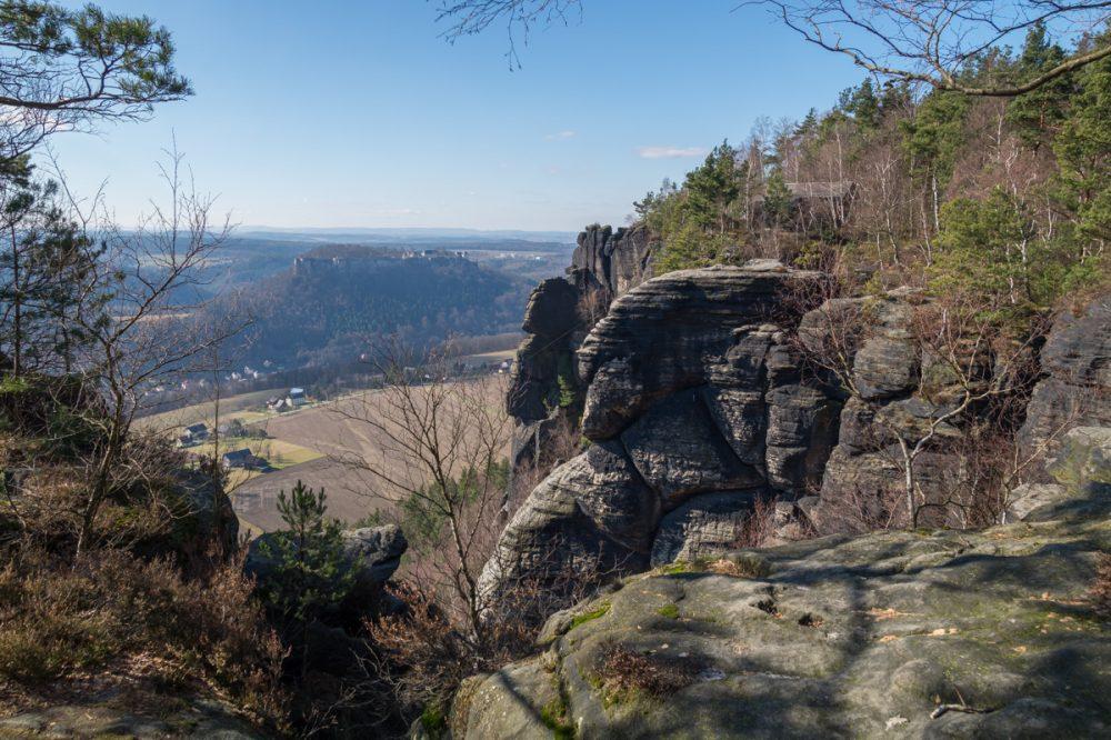 Ausblick vom Lilienstein auf Königstein