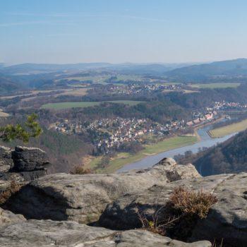 Panorama-Aussicht vom Lilienstein auf Bad Schandau