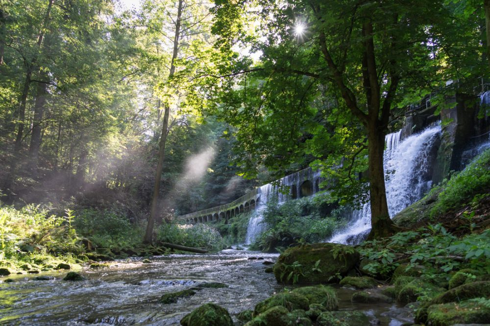 Am Ufer der Wesenitz, Wasserkraftanlage Niezelgrund in der Lohmener Klamm