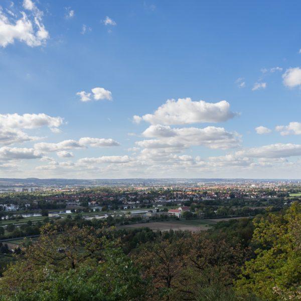 Ausblick vom Zuckerhut auf Dresden, Schönfelder Hochland