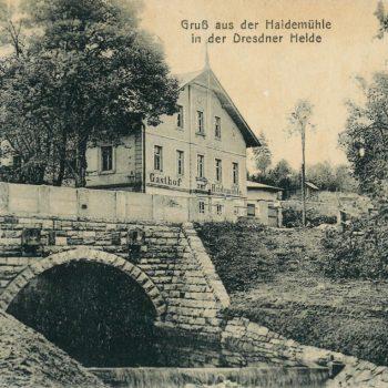 Postkartenmotiv der Heidemühle mit Hengstbrücke