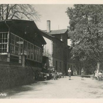 Der Holzpavillon in der Heidemühle (heute Jägerbaude)