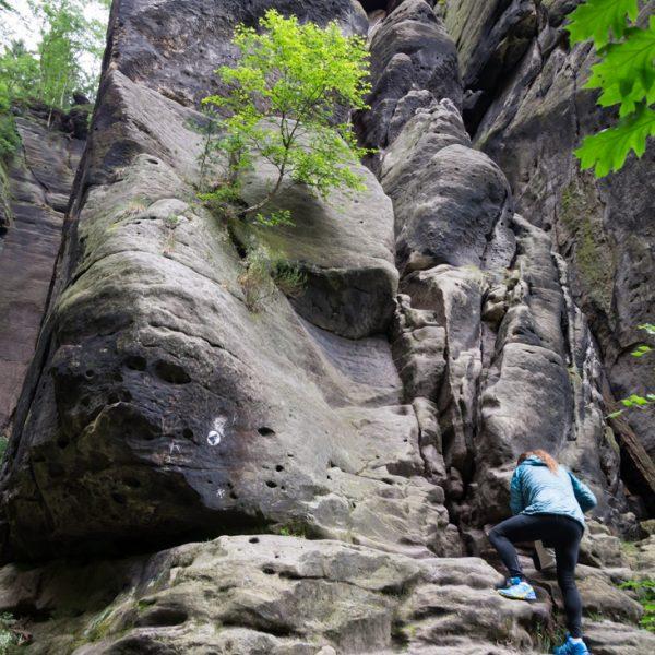 Einstieg an der Rübezahlstiege, Sächsische Schweiz