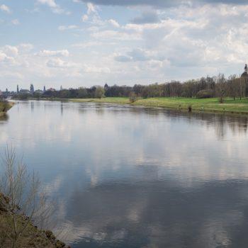Aussicht von Pieschen auf die Elbe und das historische Zentrum von Dresden
